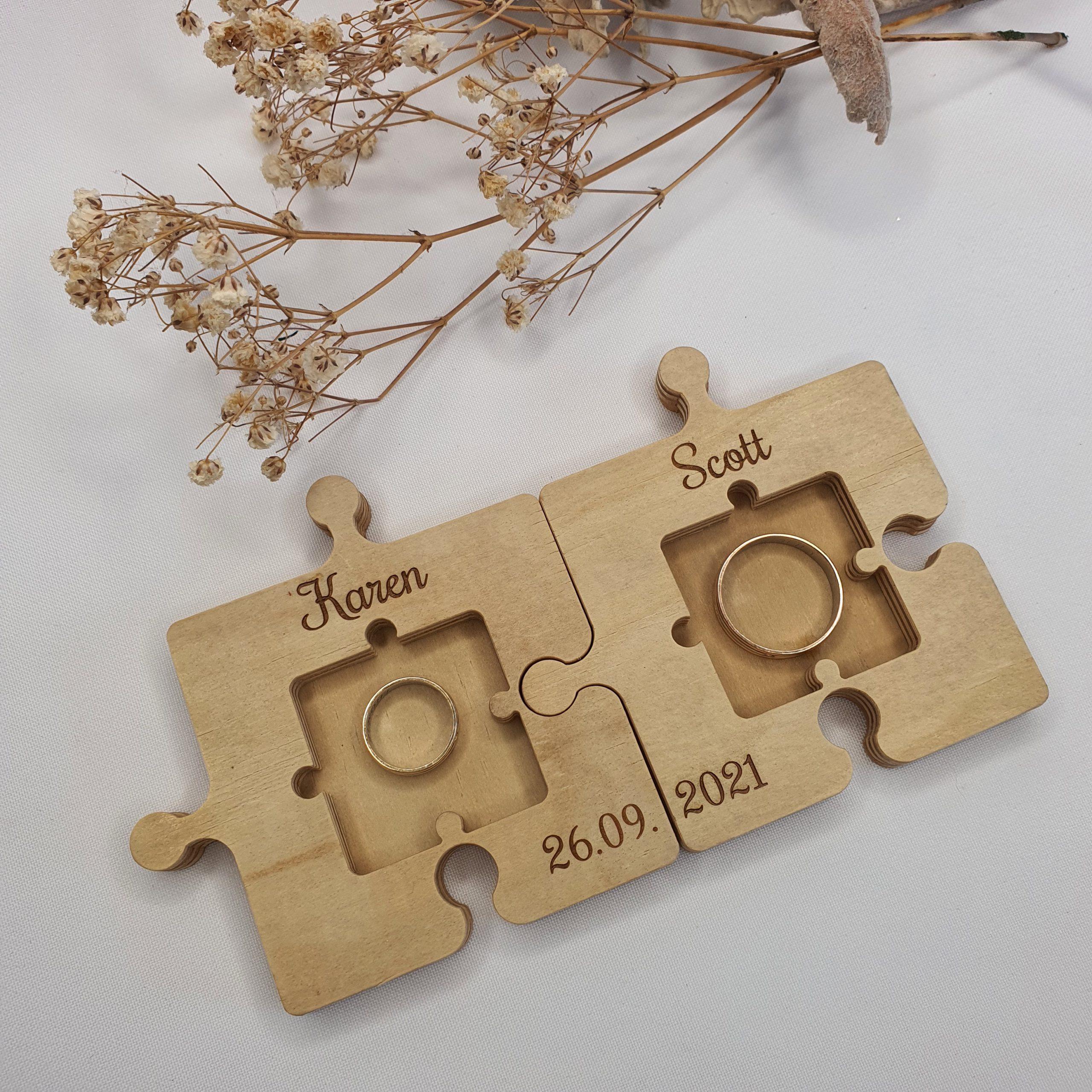 Personalised Wooden Wedding Ring Bearer Pillow