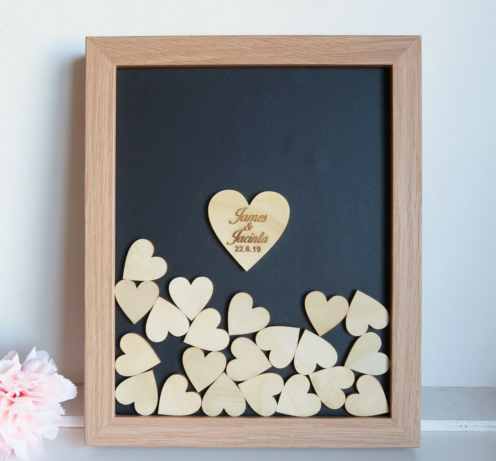 Black White Natural Wooden Drop-box Guest Book   50 Hearts