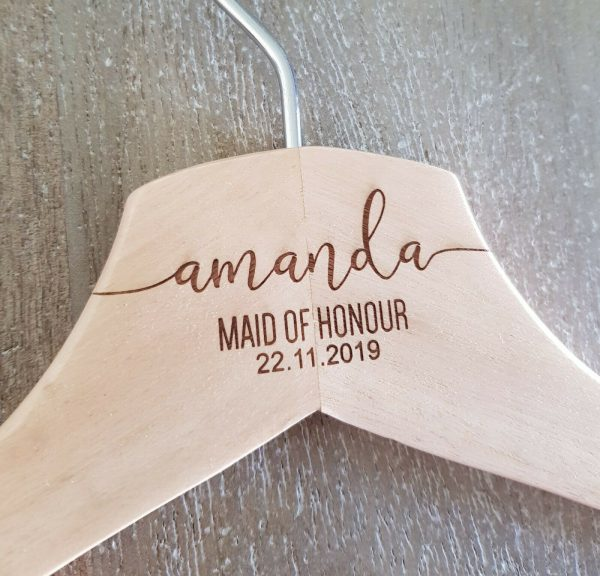 Wooden Colour Bridal Coathanger | Personalised | Infinity Style