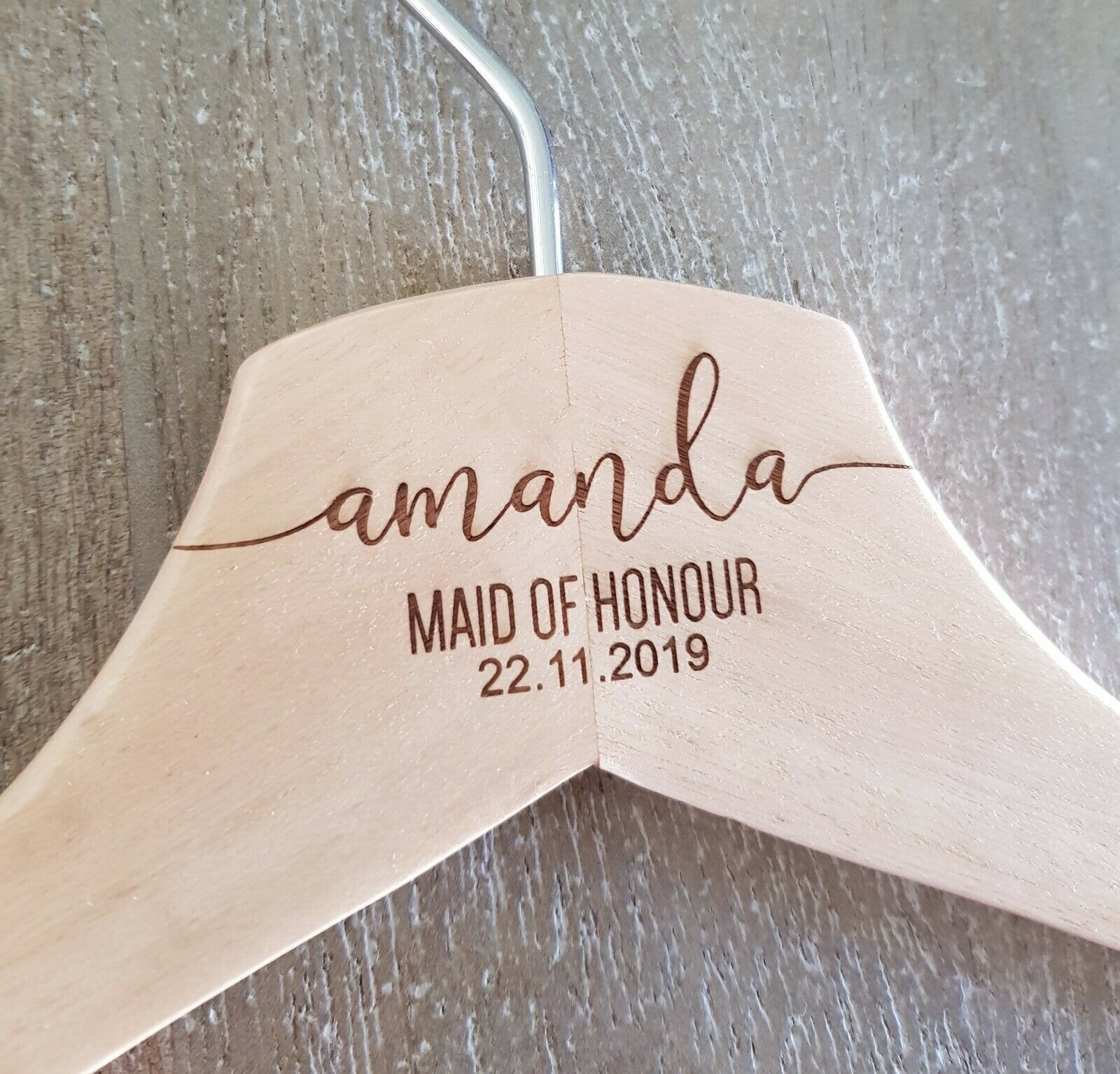 Wooden Colour Bridal Coathanger   Personalised   Infinity Style