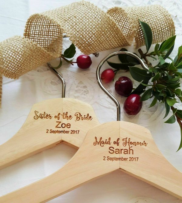 Natural wooden Wedding Personalised Coathanger