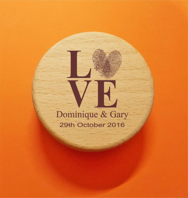 Wooden Round Ring Box | LOVE Thumb Print