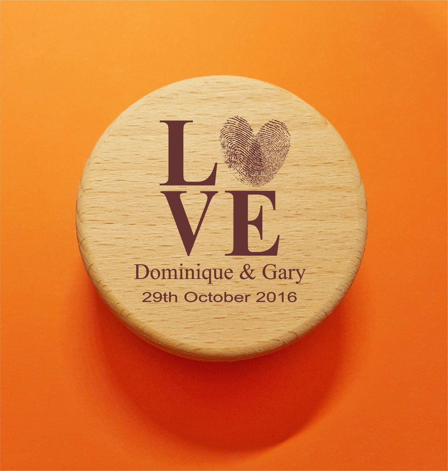 Wooden Round Ring Box   LOVE Thumb Print